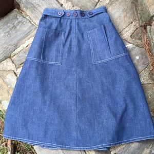 Retro 70s Style Wrap Denim Skirt Small
